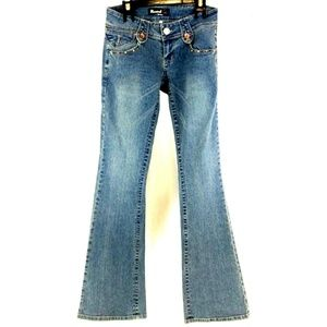 Rewind Women Flowers Sequins Boot Cut Jeans Size 1